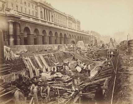 Construction of the Metropolitan District Railway, London, 1869.