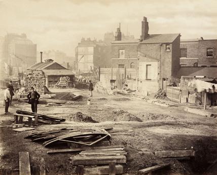 Construction of the Metropolitan District Railway, London, c 1869.