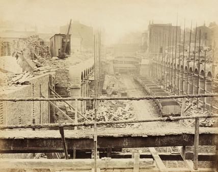 Construction of the Metropolitan District Railway, London, c 1868.