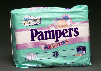 Packet of 28 Pampers 'Baby-Dry' disposable nappies, 1999.