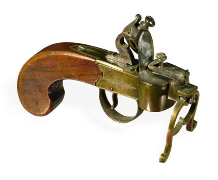Flintlock tinder pistol. English, 1780-1830.
