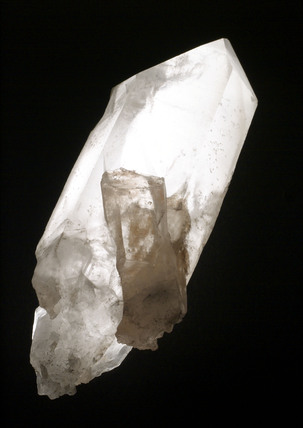 Example of quartz crystal, shaped to form a point at one end.