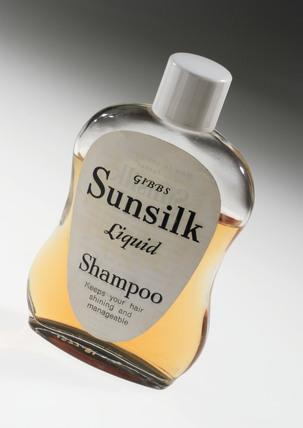 Bottle of Gibbs 'Sunsilk' liquid shampoo, c 1955.