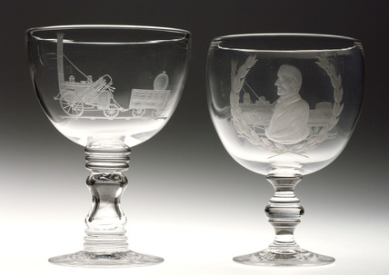 Pair of glass goblets, George Stephenson and 'Rocket', c 1830.