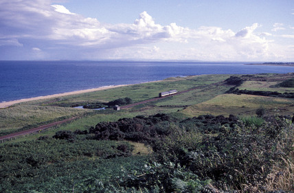 ScotRail service train travelling south to Brora, Highlands, 1999
