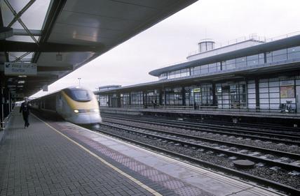 A Eurostar train at Ashford International Station.