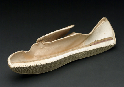 Dunlop plimsoll, sectioned, c 1950s.