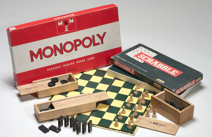 Monopoly, Scrabble and chess, c 1990.