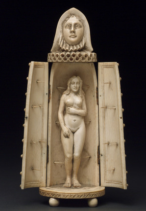Ivory model of iron maiden with woman inside, European.