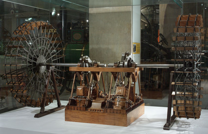 1:12 model of the paddle wheel engines of the 'Great Eastern' steamship, 1858.