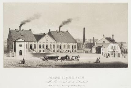 Glass factory, Belgium, c 1830-1860.