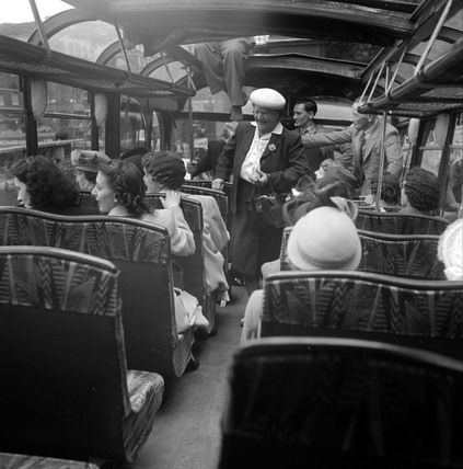 Passengers on a coach touring the sights of  London, 1950.