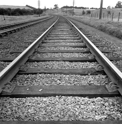 Rail track near Kettering, Northamptonshire, October 1950.