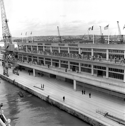 'The New Ocean Terminal seen from the Queen Mary', Southampton, 1950.