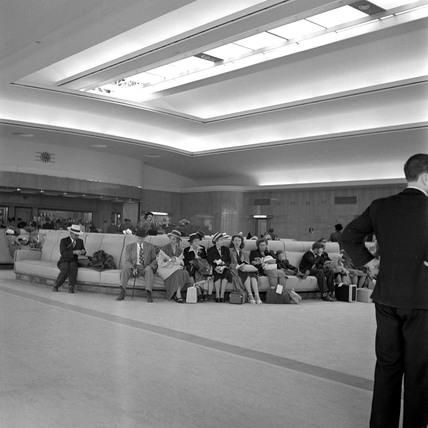 Interior of Cabin Class waiting hall, Ocean Terminal, Southampton, 1950.