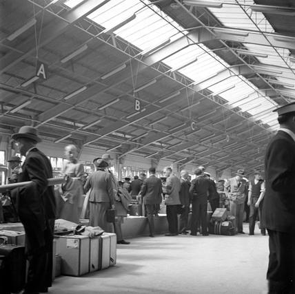 Customs examination at the Ocean Terminal, Southampton Docks, 1950.