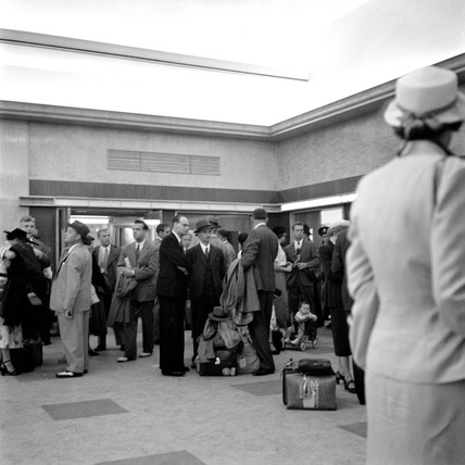 Entrance to Customs examination hall, Ocean Terminal, 1950.