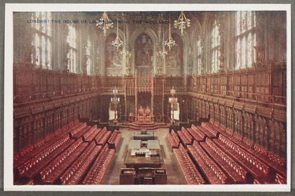 'London: The House Of Lords Showing The Woolsack', c 1914.