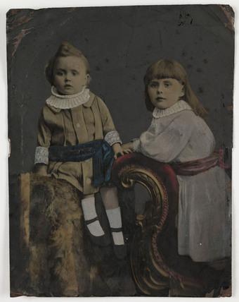 Tintype portrait of two children, c 1880.