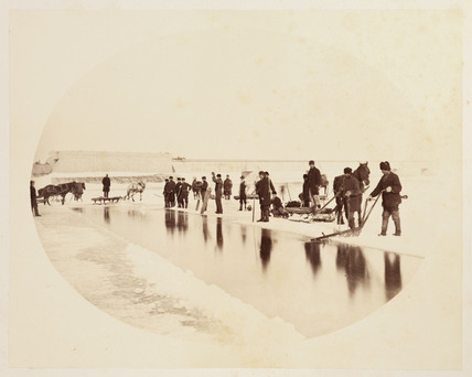 'Ice cutting on the St Lawrence River', 1860.