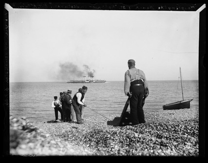 'Ploughing The Beach: SS Kohinoor in distance', 1904.