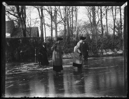 'Women Skating On Pond', c 1900.