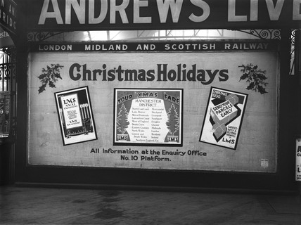 Christmas travel poster, Manchester Victoria Station, 18 December 1930.