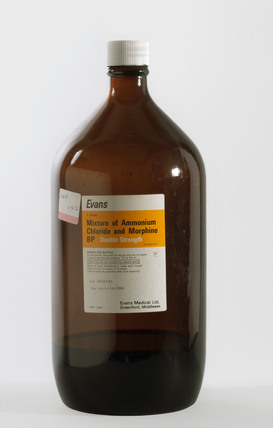 Two litre bottle of Ammonium Chloride and Morphine B P, 1976-1982.