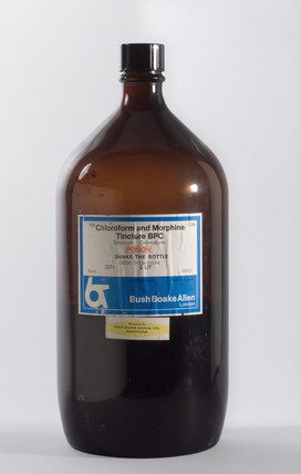 Two litre bottle of Chloroform and Morphine tincture B P C, 1960-1985.