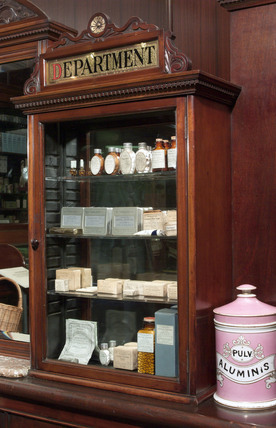 Shop fitting from The Old Pharmacy, Hexham, late 19th early 20th century.