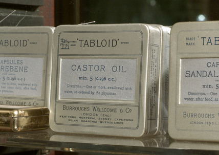 Tabloid caster oil capsules, late 19th early 20th century.