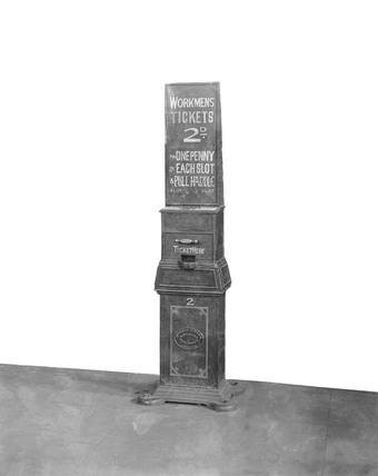 Workmen's ticket machine, North London Railway, c 1900.
