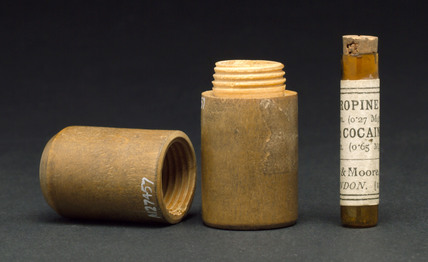 Glass phial containing atropine and cocaine, 1880-1920.