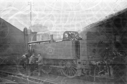 Metropolitan Railway locomotive No 23 in sidings, c 1900.