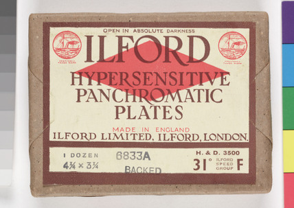 Ilford photographic plates, c 1920s.