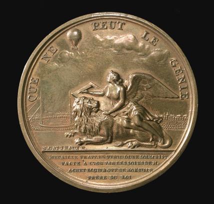 Medal commemorating Montgolfier balloon flight at Lyon, France, 1784.