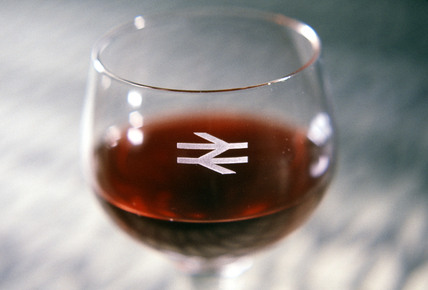 Wine glass with British Rail logo, 1964.