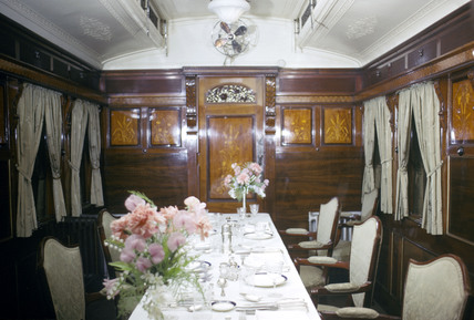 Interior of King Edward VII's dining saloon, photographed April 1966.