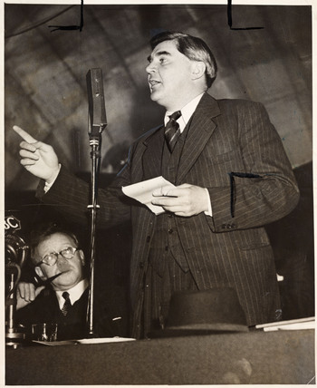 Aneurin Bevan giving an address, c 1940s.