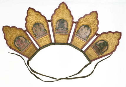 Buddhist priest's crown, Tibetan, 19th century.
