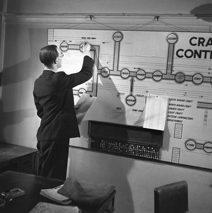 Craft control board at the City Office of Grand Union Canal, London, 1950.