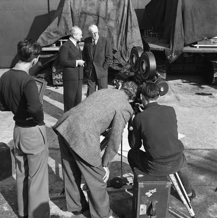 BTF film crew shooting in Priestman's yard, Hull, Kingston Upon Hull, 1949.