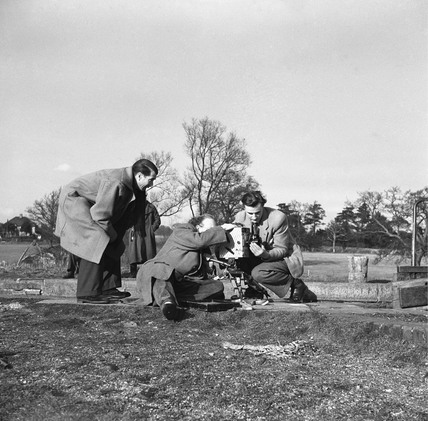BTF film crew at Slaughter's Lock, Boxmoor, Hertfordshire, 1950.