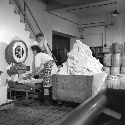 Dairymaids weighing butter in a dairy at Campbeltown, Scotland, 1950.