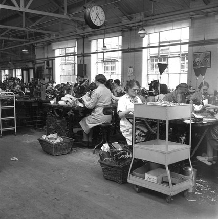 Women making shoes in a factory, Leicester, 1950.