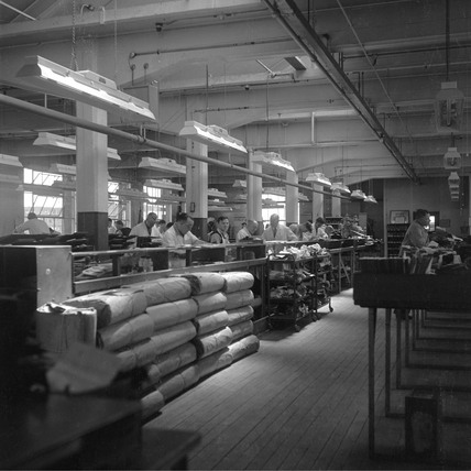 General view of shoe factory, Leicester, 1950.