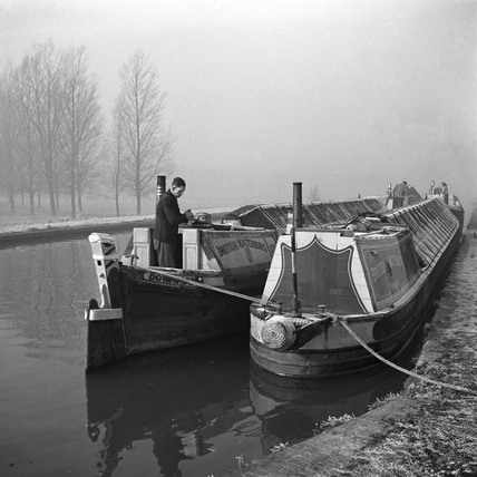 Beresford Brothers' boats at Fishery Lock on a frosty morning, 1950.
