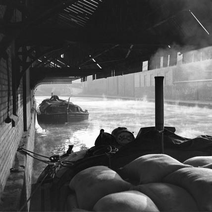 Barges awaiting discharge at Wigan Wharf, Wigan, 1949.