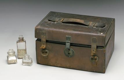 Leather medicine chest, 1863-1901.