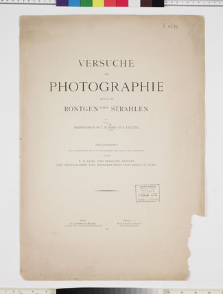 Title page of Eder and Valenta's book on photography, 1896.